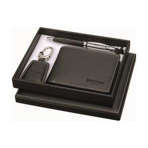 Set pera, kľúčenky a čiernej koženkovej peňaženky Balmain Ballpoint
