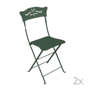 Sada 2 zelených kovových skladacích záhradných stoličiek Fermob Bagatelle