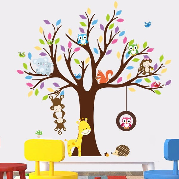 Sada nástenných detských samolepiek Ambiance Tree with Animals