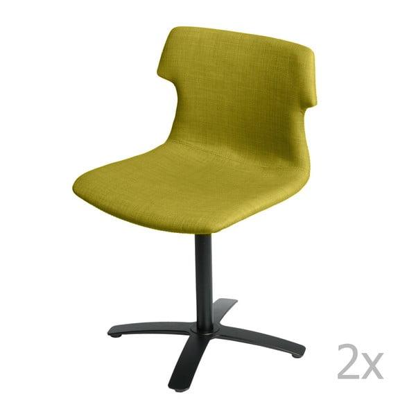 Sada 2 stoličiek D2 Techno One, čalúnené, olivové