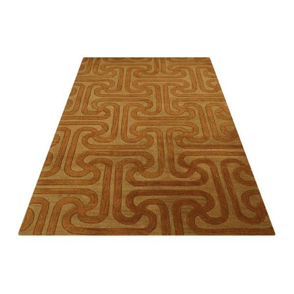 Vlnený koberec Twist Camel Gold, 153x244 cm