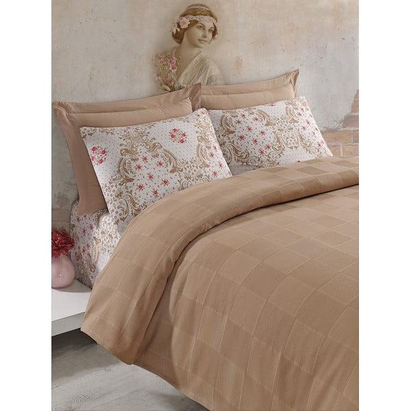Sada prikrývky cez posteľ, plachty a obliečky Fashion Brown, 200x235 cm