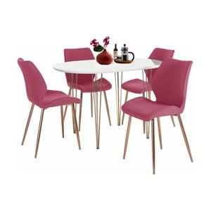 Set bieleho jedálenského stola a 4 červených jedálenských stoličiek Støraa Emil and Annie