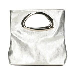 Kožená kabelka v striebornej farbe Chicca Borse Lumino