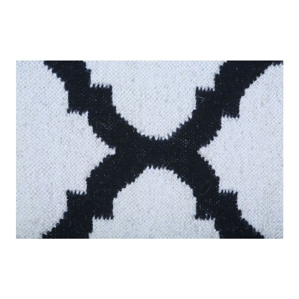Vlnený koberec Geometry Guilloche Black & White, 160x230 cm