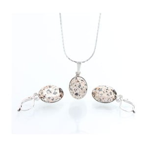 Set náhrdelníka a náušníc Yasmine Oval Pink