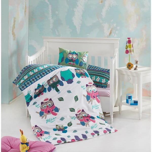 Set bavlnenej detskej obliečky s plachtou Owly, 100 × 150 cm