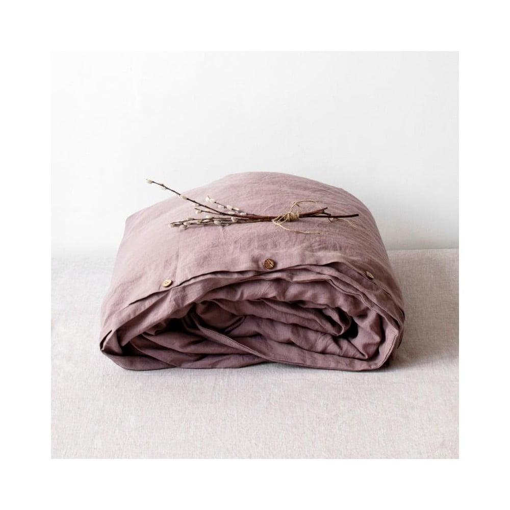Staroružová ľanová obliečka na perinu Linen Tales, 200 x 200 cm