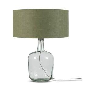Stolová lampa s tmavozeleným tienidlom a konštrukciou z recyklovaného skla Good&Mojo Murano, ⌀ 47 cm