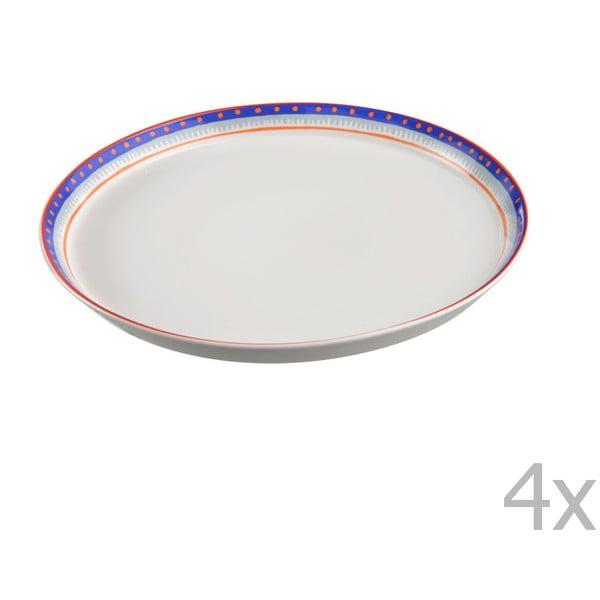 Sada 4 porcelánových tanierov na pizzu Oilily 31 cm, modrý okraj