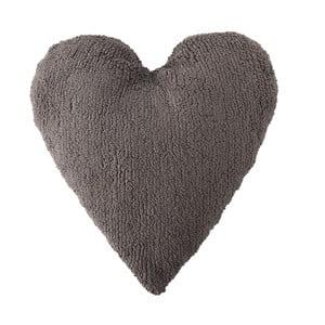 Tmavosivý bavlnený ručne vyrobený vankúš Lorena Canals Heart, 47 x 50 cm