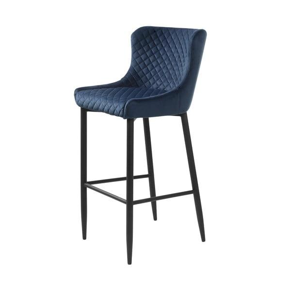 Tmavomodrá čalúnená barová stolička Unique Furniture Ottowa