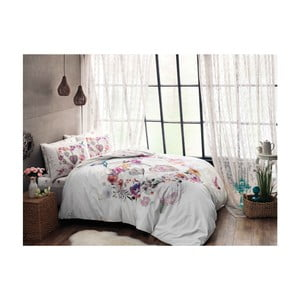 Bavlnené obliečky s prestieradlom na dvojlôžko Melissa Pink, 200 x 220 cm