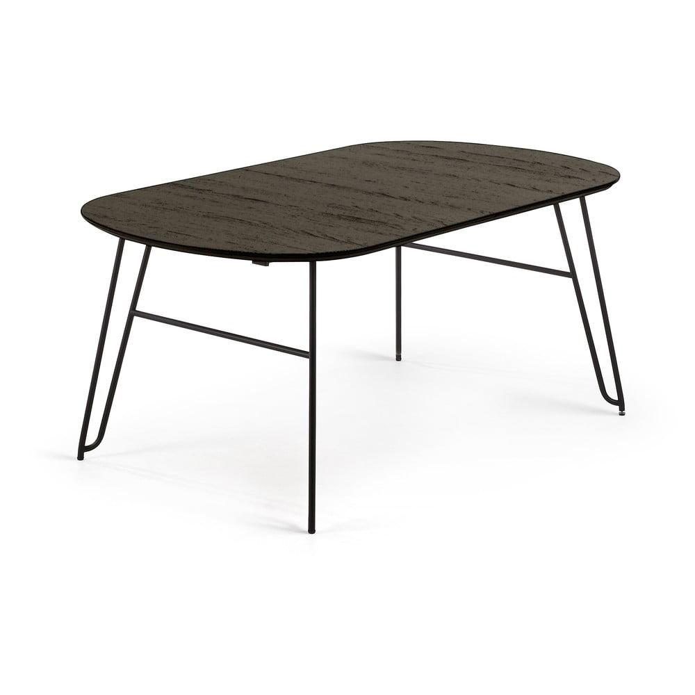 Čierny rozkladací jedálenský stôl La Forma Norfort, dĺžka 140/220 cm