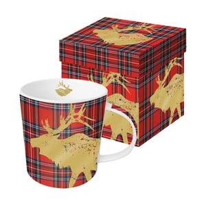 Porcelánový hrnček s vianočným motívom v darčekovom balení PPD Tartan Deer Red, 350 ml