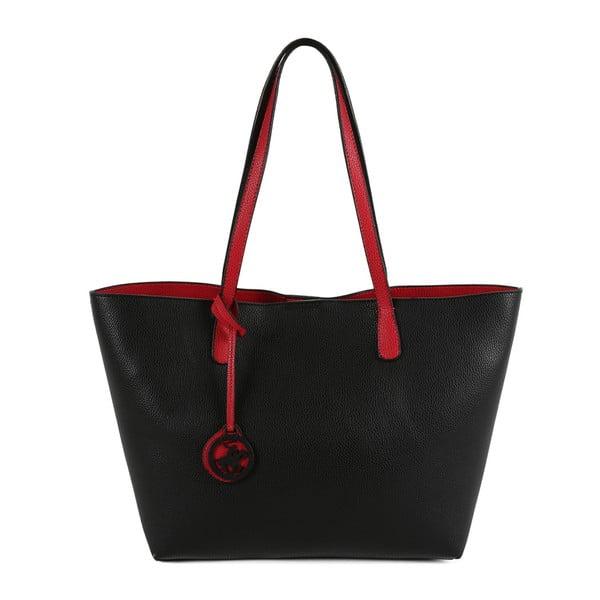Čierno-červená kabelka z eko kože Beverly Hills Polo Club Daniela