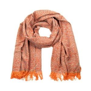Oranžový melírovaný šál so strapcami Art of Polo Avril