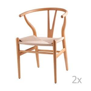 Sada 2 drevených jedálenských stoličiek sømcasa Ada