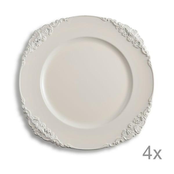 Sada 4 plastových tanierov Elegance Ivory