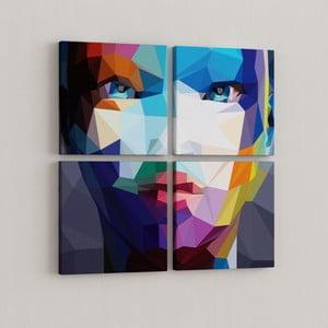 Sada 4 obrazov Geometrická tvár