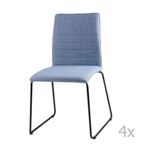 Sada 4 svetlomodrých jedálenských stoličiek sømcasa Vera