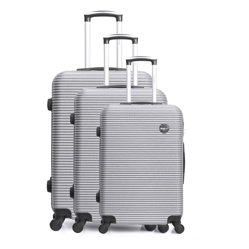Sada 3 cestovných kufrov na kolieskach striebornej farby Bluestar Vanity
