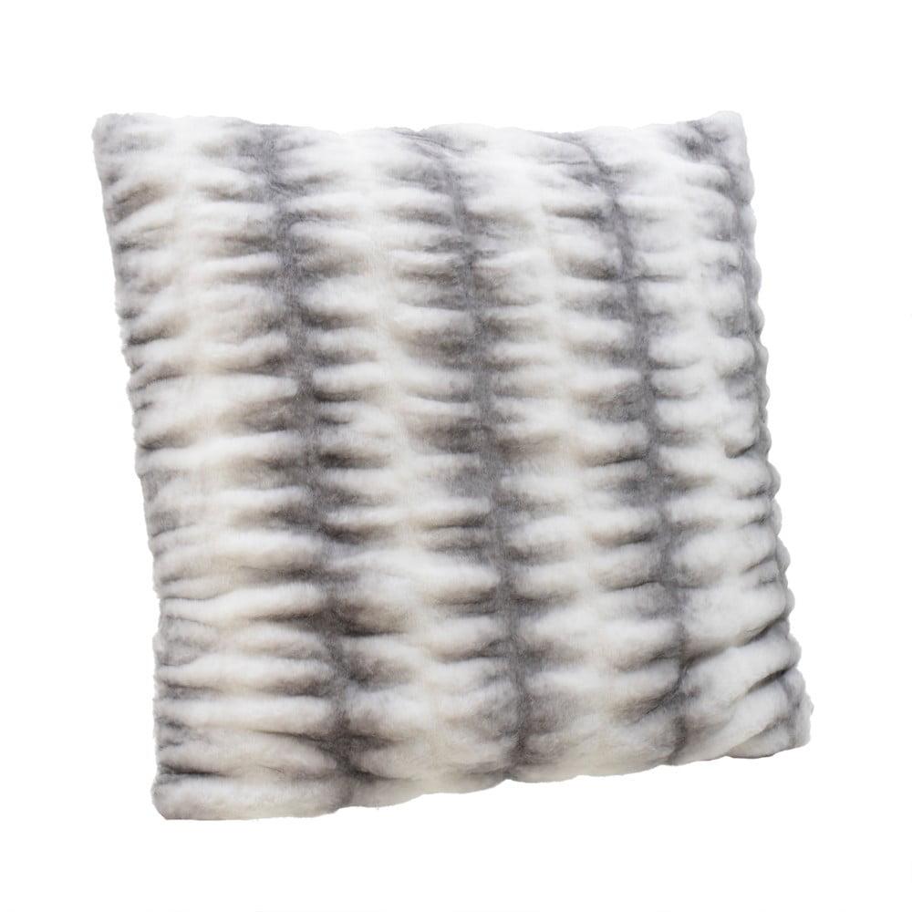 Bielo-sivý vankúš InArt Furry, 60 x 60 cm