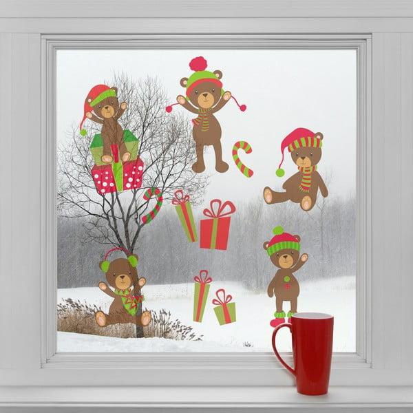 Elektrostatické vianočné samolepky Vianočné medvede