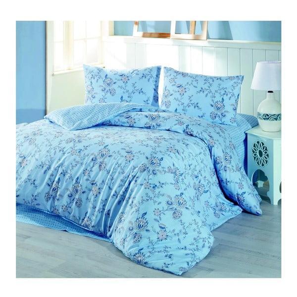 Bavlnené obliečky s plachtou na jednolôžko Blue Meadow, 160 × 220 cm