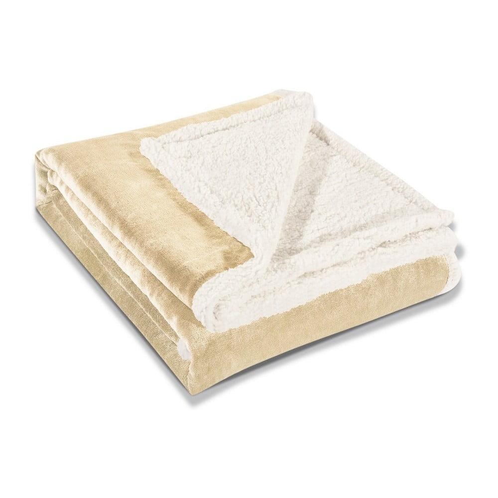Krémová deka z mikrovlákna DecoKing Teddy, 150 × 200 cm