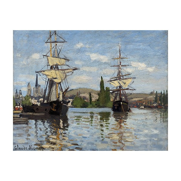 Obraz Claude Monet - Ships Riding on the Seine at Rouen, 90x70 cm
