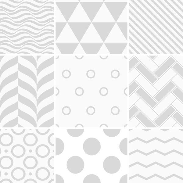 Sada 9 nástenných samolepiek Ambiance Cement Tiles Scandinavian Finnish, 10 × 10 cm