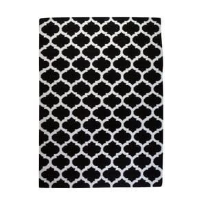 Vlnený koberec Geometry Guilloche White & Black, 160x230 cm