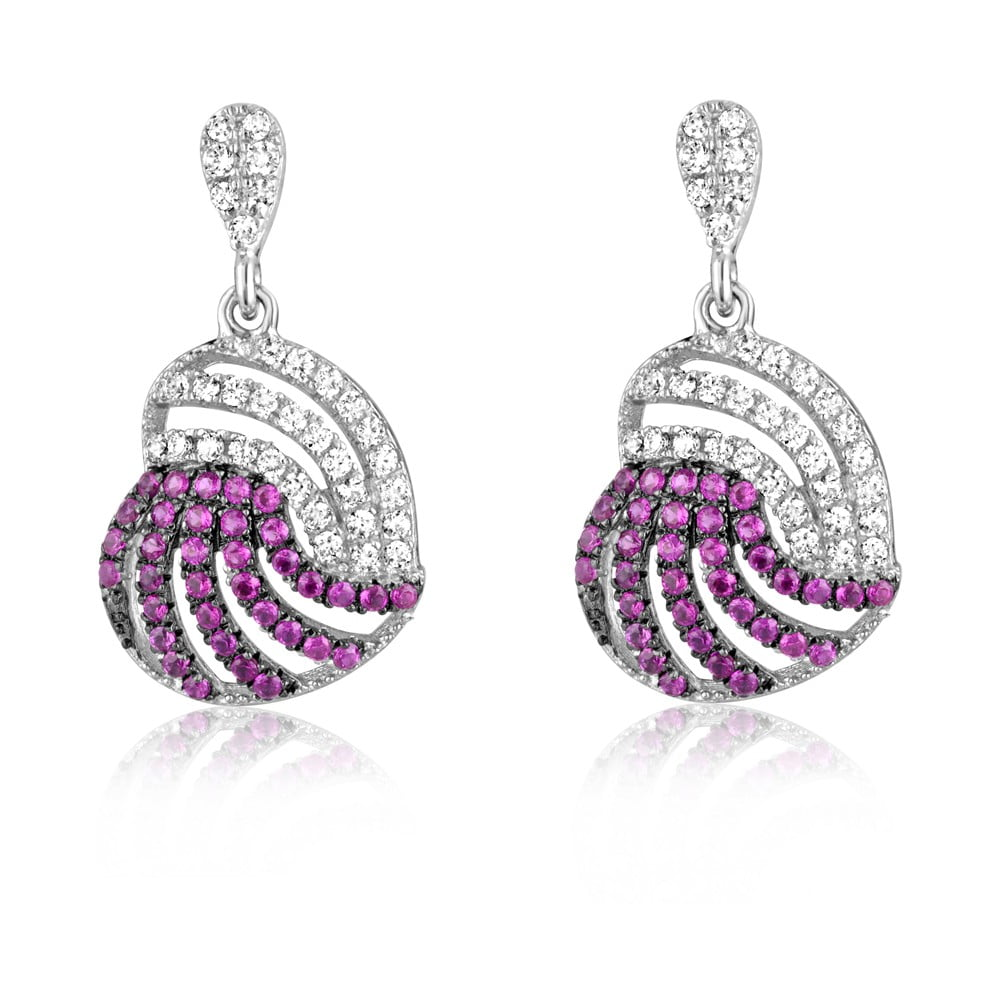 dc9671951 Strieborné náušnice s ružovými a bielymi zirkónmi Swarovski Elements  Crystals Heart