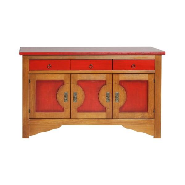 Červeno-hnedá komoda z masívneho topoľoveho dreva Evergreen Houso Orient