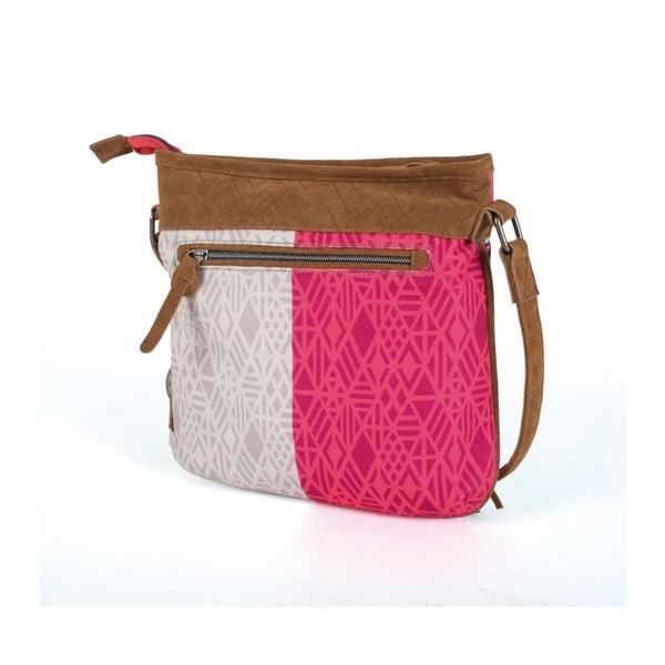 Ružovo-biela kabelka so strapcami Lois, 26 x 25 cm