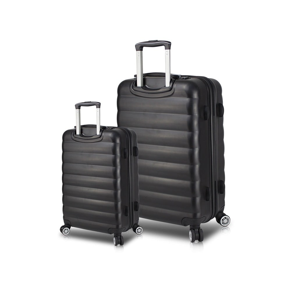 Sada 2 čiernych cestovných kufrov na kolieskach s USB porty My Valice RESSNO Cabin & Large