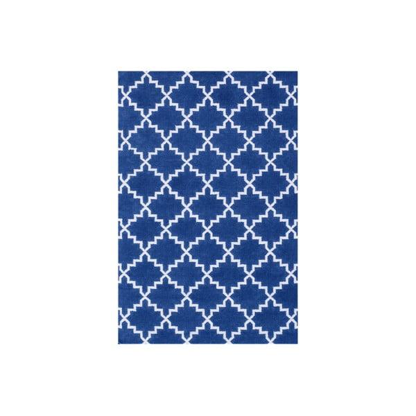 Tmavomodrý vlnený koberec Bakero Eugenie, 180 x 120 cm