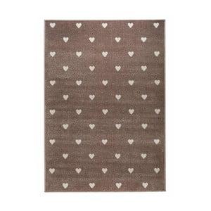 Hnedý koberec s bodkami KICOTI Peas, 80 × 150 cm