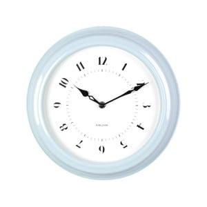 Modré nástenné hodiny Present Time Fifties, priemer 30cm