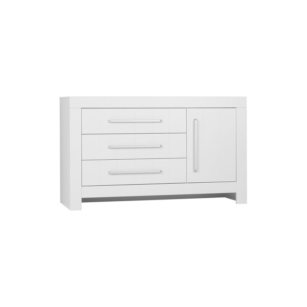 Biela jednodverová komoda s 3 zásuvkami Pinio Calmo