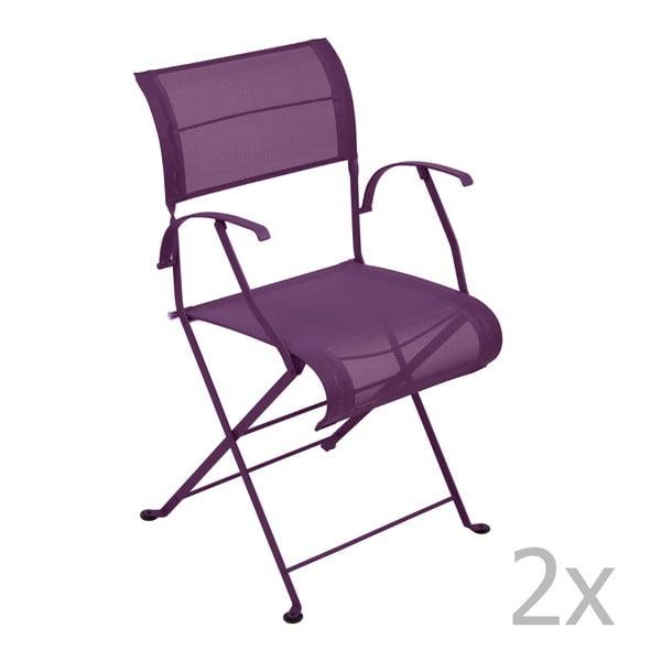 Sada 2 fialových skladacích stoličiek s opierkami na ruky Fermob Dune