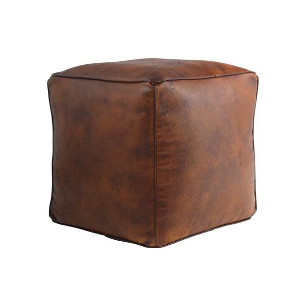 Hnedý kožený puf Fuhrhome St. Thomas