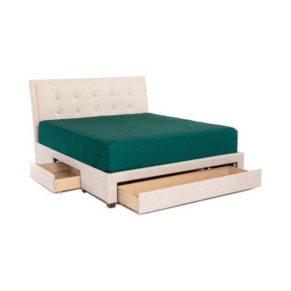 Béžová dvojlôžková posteľ Chez Ro Andover, 160×200 cm