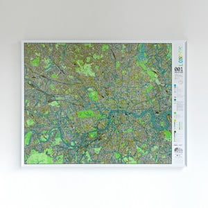 Zelená mapa Londýna The Future Mapping Company Street Map, 130 × 100 cm