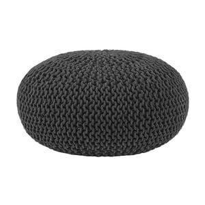 Čierny pletený puf LABEL51 Knitted , ⌀70 cm