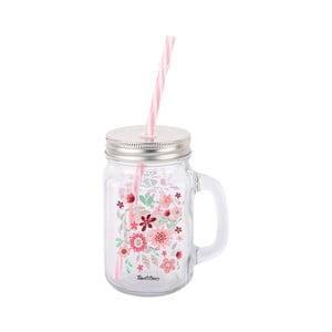 Sklenený pohár so slamkou Tantitoni Blososoom, 475 ml