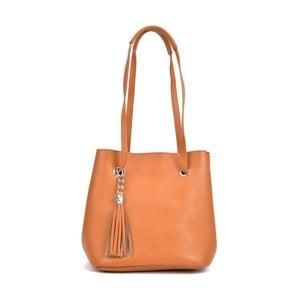 Koňakovohnedá kožená kabelka Mangotti Bags Aurora