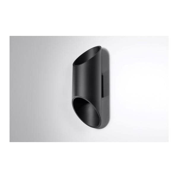 Čierne nástenné svetlo Nice Lamps Nixon, dĺžka 30 cm