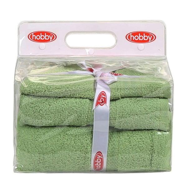 Set 3 zelených bavlnených uterákov a osušky zo 100% bavlny Rainbow